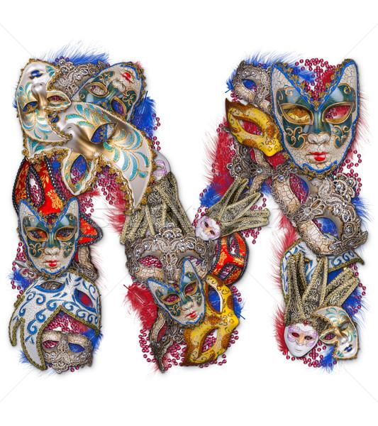 M betű karnevál maszk toll háttér ír Stock fotó © grafvision