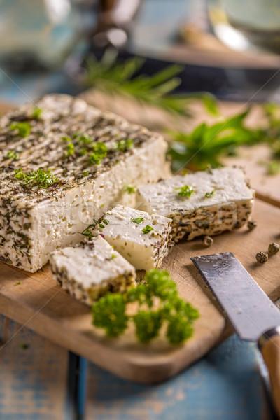 フェタチーズ パセリ 葉 スパイス 背景 料理 ストックフォト © grafvision