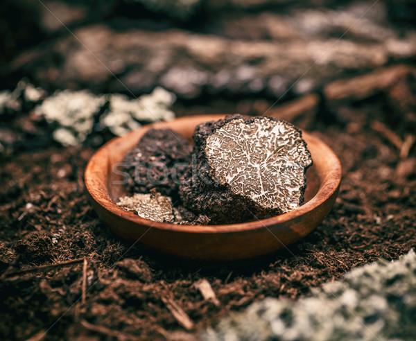 Siyah mantar pahalı nadir lüks sağlıklı Stok fotoğraf © grafvision