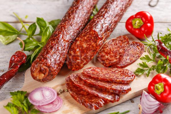 サラミ 木製 まな板 肉 食事 ストックフォト © grafvision