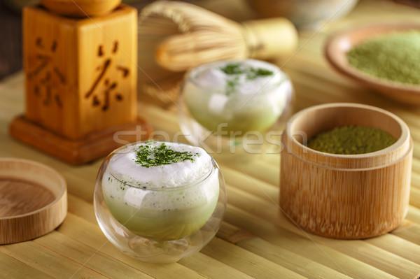 Glass of matcha green tea latte Stock photo © grafvision