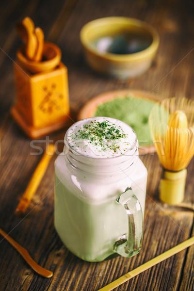 Zöld tea smoothie ital zöld tej desszert Stock fotó © grafvision