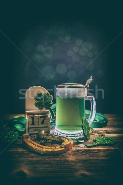 聖パトリックの日 素朴な 木製 ビール カレンダー 緑 ストックフォト © grafvision