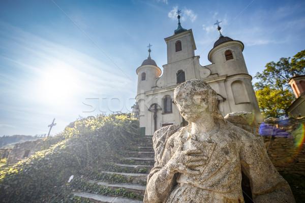 Calvary church with statue Stock photo © grafvision