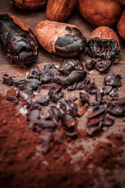 Cacau feijões velho comida fundo Foto stock © grafvision