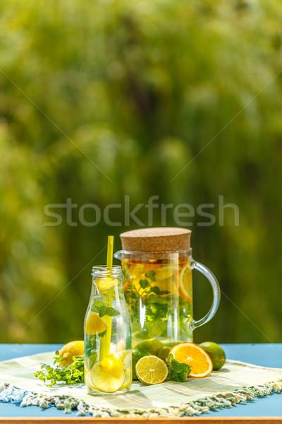 Frissítő nyár detoxikáló koktél citrom citrus Stock fotó © grafvision