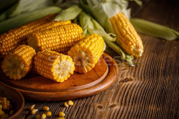 Sweet bouilli maïs sel rustique bois Photo stock © grafvision