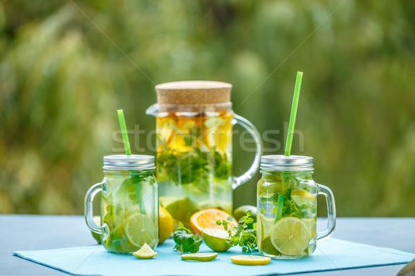Stockfoto: Vers · water · stilleven · vruchten · blad