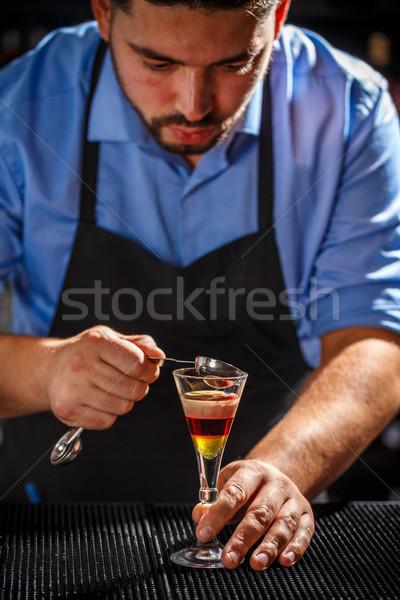 бармен коктейль Бар борьбе стороны Сток-фото © grafvision