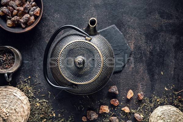 Afbeelding traditioneel Oost theepot vintage zwarte Stockfoto © grafvision
