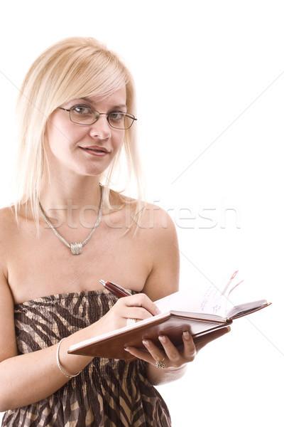 Stock fotó: Diák · tankönyvek · mosolyog · izolált · fehér · üzlet