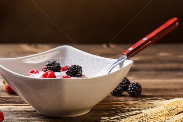 Teljes kiőrlésű müzli reggeli joghurt egészség gyümölcsök Stock fotó © grafvision