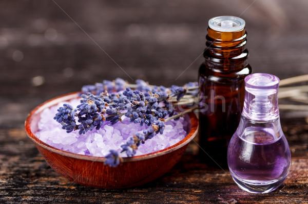 Zdjęcia stock: Olejek · lawendowy · perfum · szkła · butelki · tle · niebieski