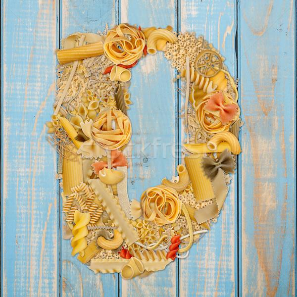 D betű tészta kék fából készült étel háttér Stock fotó © grafvision