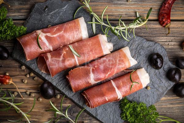 Prosciutto top view rustico alimentare sfondo Foto d'archivio © grafvision