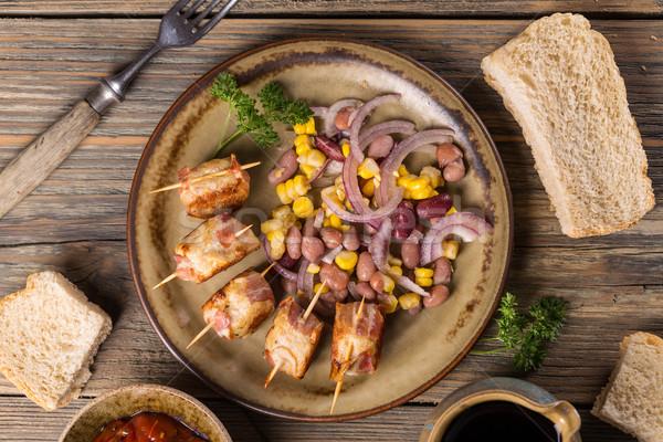 Kip gehaktballetjes top garnering voedsel Stockfoto © grafvision