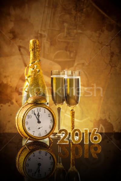 Foto stock: Año · nuevo · champán · gafas · listo · fiesta · vino