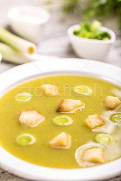 Póréhagyma krém leves közelkép zöld zöldségek Stock fotó © grafvision