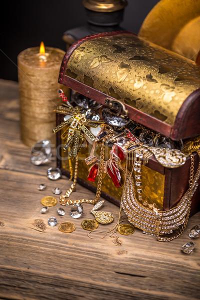 Open completo gioielli soldi sfondo Foto d'archivio © grafvision