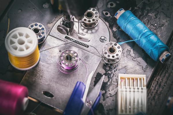 Retro maszyny do szycia szycia przybory robótki moda Zdjęcia stock © grafvision