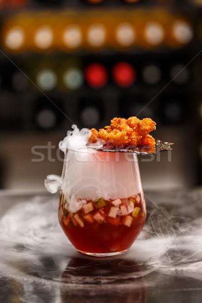 Gourmet smoking fruit soup Stock photo © grafvision