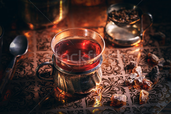 Black tea in a glass cup Stock photo © grafvision