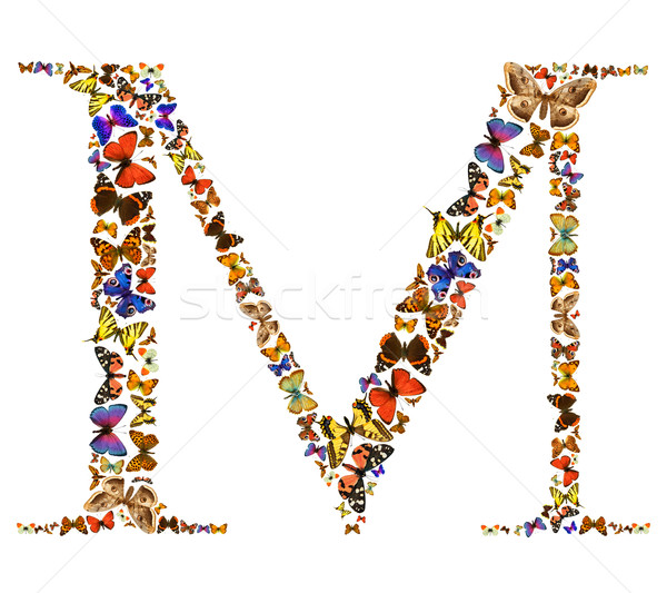 ストックフォト: 蝶 · 手紙 · フォント · 白 · 手紙m · 自然