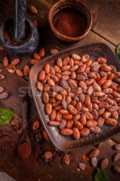 Stock foto: Kakaobohnen · Platte · Schokolade · Anlage