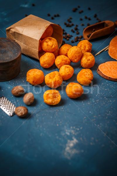 Foto stock: Batata · azul · espacio · alimentos · pelota · almuerzo