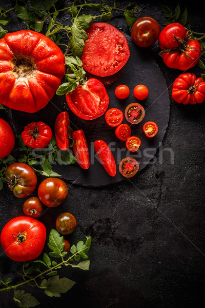 Flat lay of fresh ripe tomatoes Stock photo © grafvision