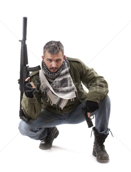 Terrorist pistool geïsoleerd witte masker asian Stockfoto © grafvision