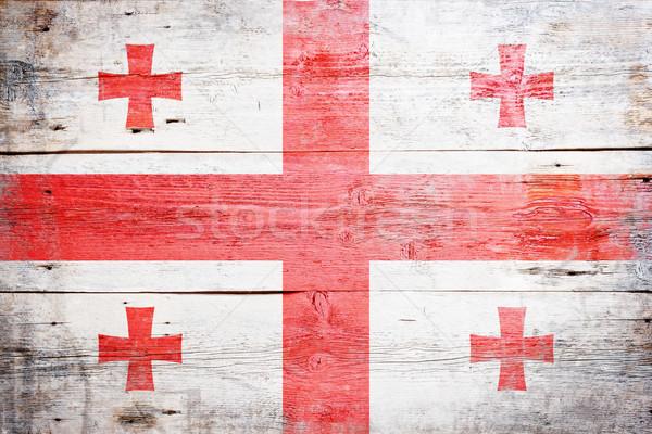 флаг Грузия окрашенный древесины доска Сток-фото © grafvision