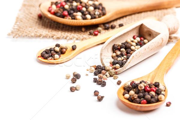 Borsszem keverék fakanál terv asztal piros Stock fotó © grafvision