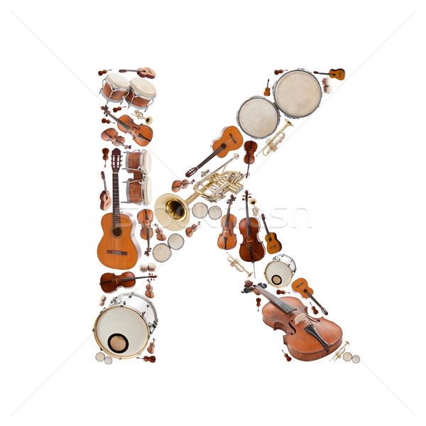 Muziekinstrumenten alfabet witte brief boom gitaar Stockfoto © grafvision