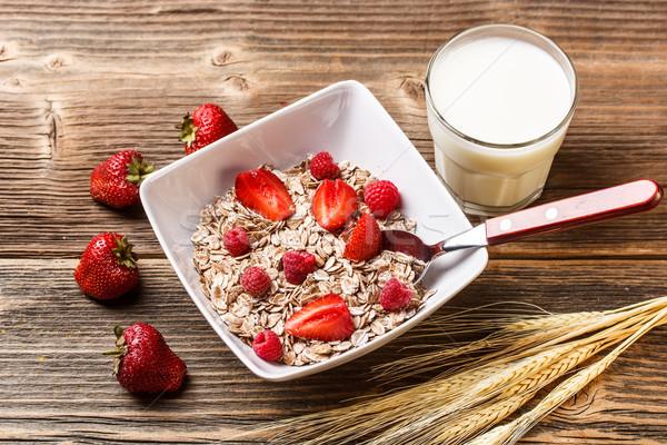 Müsli kahvaltı lezzetli sağlıklı meyve Stok fotoğraf © grafvision