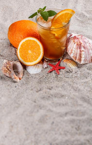 Hielo naranja té naturaleza muerta arena frutas Foto stock © grafvision