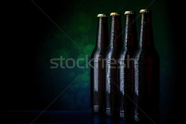 ストックフォト: ボトル · ビール · グループ · ぬれた · 水 · パーティ