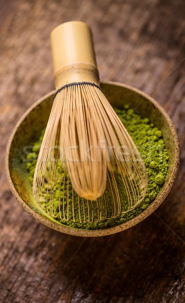 Thé brut organique vert bol fouet Photo stock © grafvision