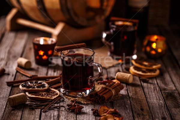 Sıcak şarap kuru turuncu baharatlar cam Stok fotoğraf © grafvision