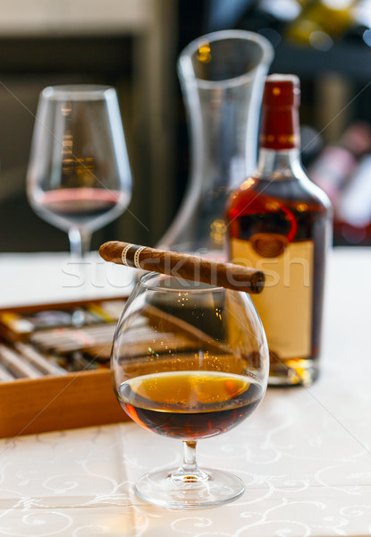 Quality cigars and cognac Stock photo © grafvision