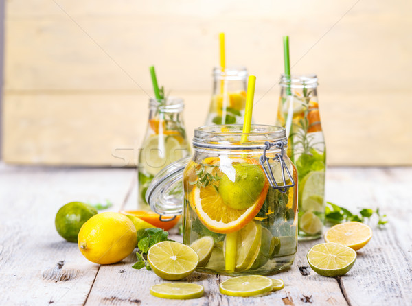 Limonade fraîches citron menthe feuille fruits Photo stock © grafvision