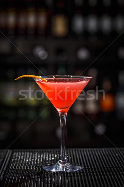 Stock fotó: üveg · kozmopolita · koktél · közelkép · díszített · narancs