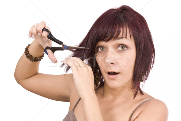 Female cutting herself Stock photo © grafvision