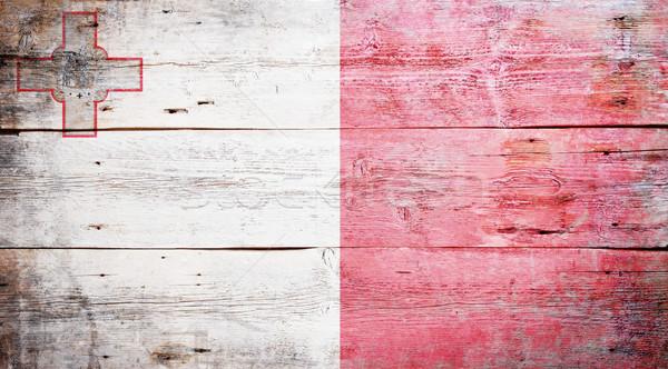 Zdjęcia stock: Banderą · Malta · malowany · drewna · deska