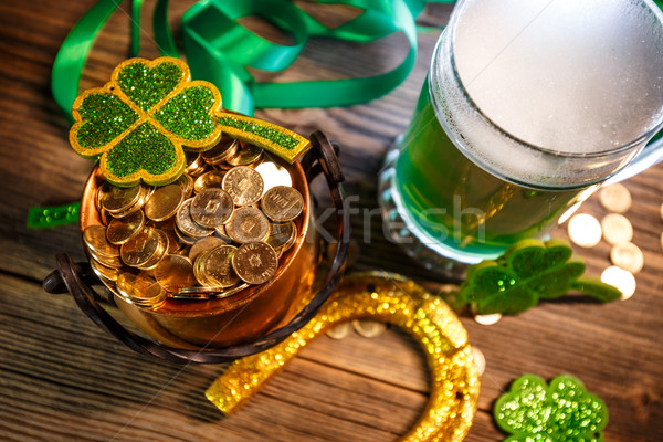 Pot of gold, green beer and shamrocks Stock photo © grafvision