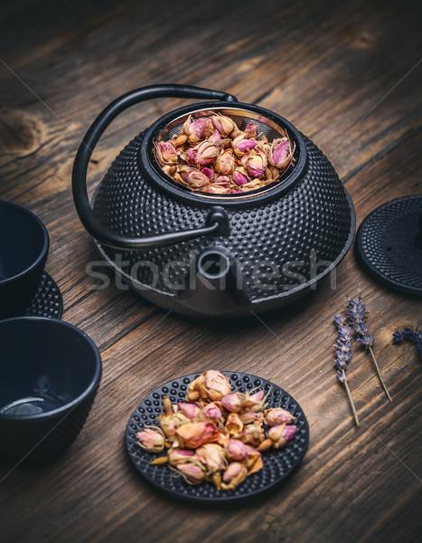 Bule rosa acima vintage beber Foto stock © grafvision
