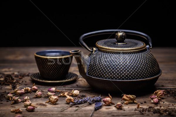Closeup of tea set Stock photo © grafvision
