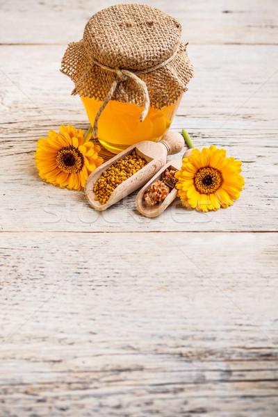 Honing jar bee stuifmeel propolis houten Stockfoto © grafvision