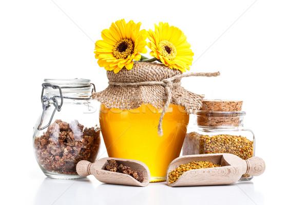 Honing stilleven stuifmeel propolis voedsel gezondheid Stockfoto © grafvision