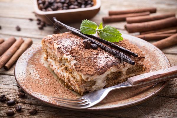ティラミス プレート 木製 チョコレート ケーキ 星 ストックフォト © grafvision